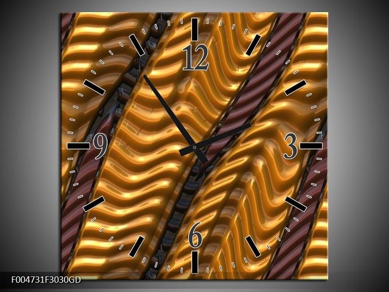 Wandklok op Glas Modern | Kleur: Geel, Bruin | F004731CGD