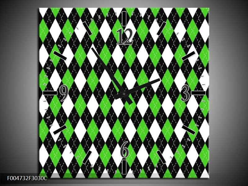 Wandklok op Canvas Modern   Kleur: Groen, Wit, Zwart   F004732C