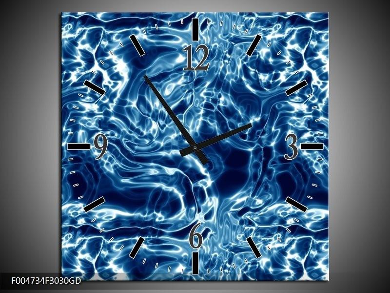 Wandklok op Glas Modern | Kleur: Blauw, Wit | F004734CGD