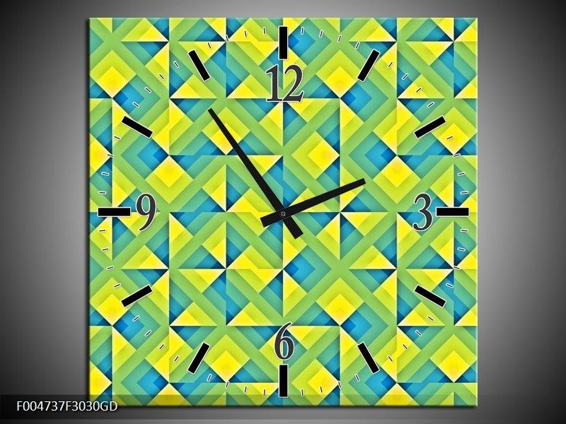 Wandklok op Glas Modern   Kleur: Blauw, Geel, Groen   F004737CGD