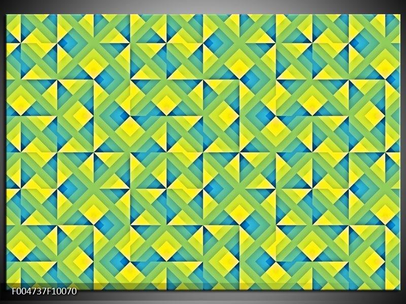 Glas schilderij Modern | Blauw, Geel, Groen