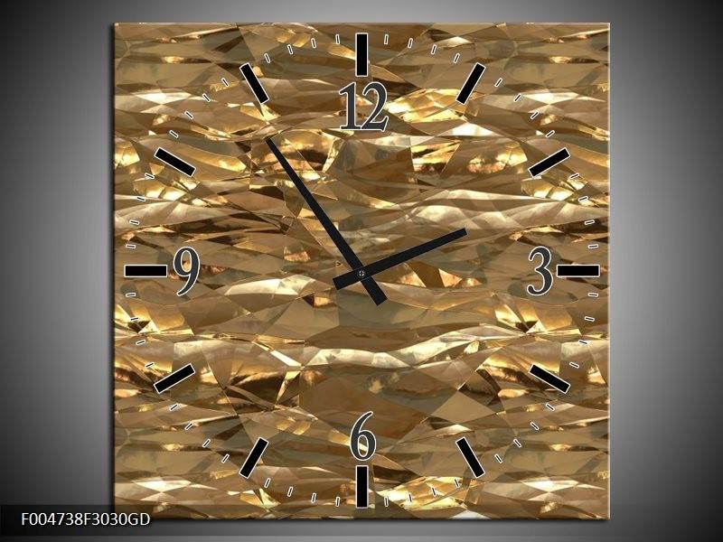 Wandklok op Glas Modern | Kleur: Bruin, Wit | F004738CGD