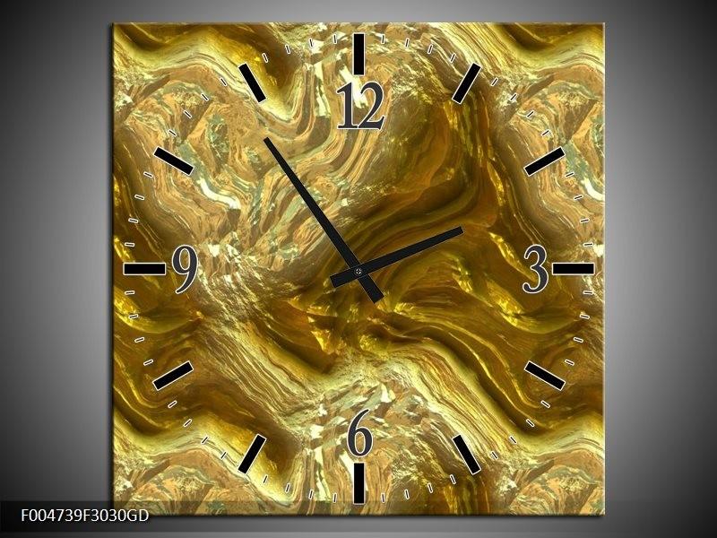 Wandklok op Glas Modern   Kleur: Bruin, Goud   F004739CGD