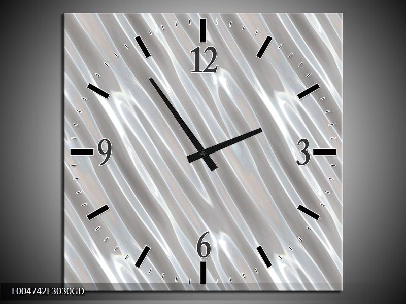 Wandklok op Glas Modern | Kleur: Zilver, Wit | F004742CGD