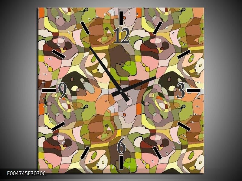 Wandklok op Canvas Modern | Kleur: Groen, Geel, Bruin | F004745C