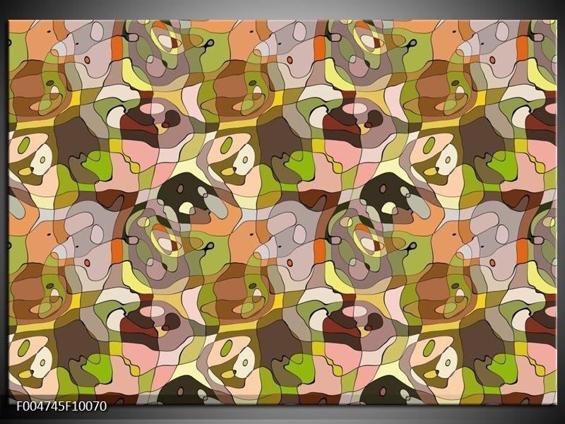 Glas schilderij Modern | Groen, Geel, Bruin