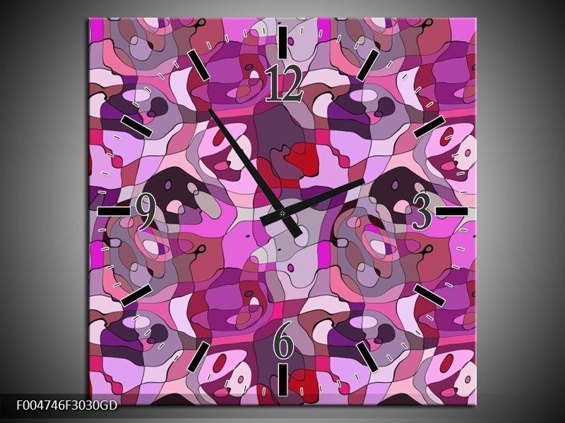 Wandklok op Glas Modern   Kleur: Paars, Roze, Grijs   F004746CGD