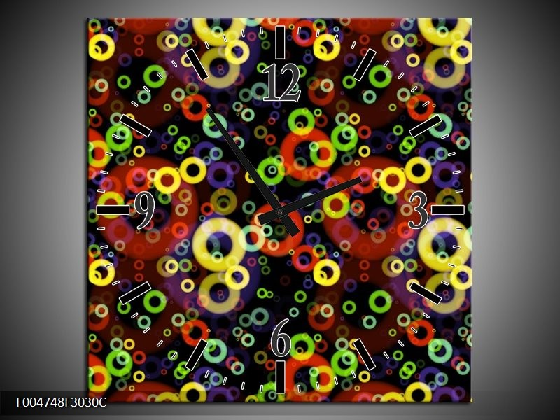 Wandklok op Canvas Modern | Kleur: Geel, Groen, Rood | F004748C