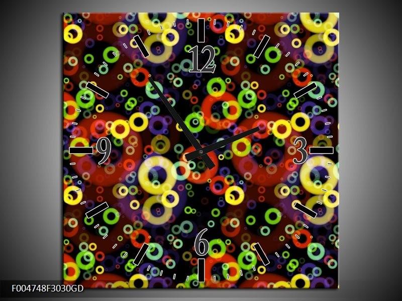 Wandklok op Glas Modern | Kleur: Geel, Groen, Rood | F004748CGD