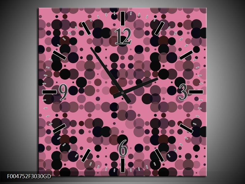 Wandklok op Glas Modern | Kleur: Roze, Paars, Zwart | F004752CGD