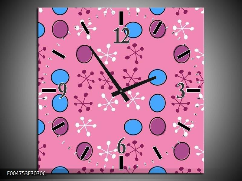 Wandklok op Canvas Modern | Kleur: Paars, Blauw, Roze | F004753C