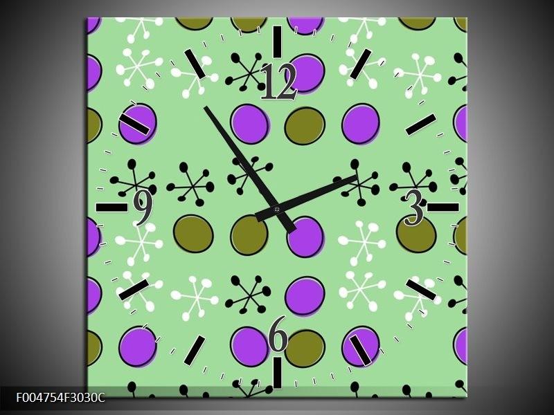 Wandklok op Canvas Modern | Kleur: Groen, Paars, Wit | F004754C