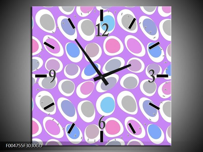 Wandklok op Glas Modern | Kleur: Paars, Blauw, Roze | F004755CGD