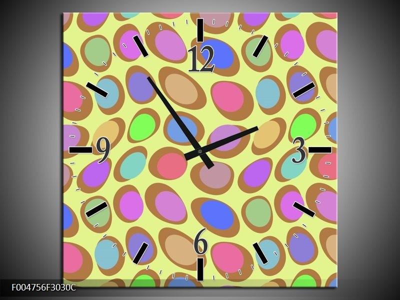Wandklok op Canvas Modern   Kleur: Geel, Blauw, Roze   F004756C