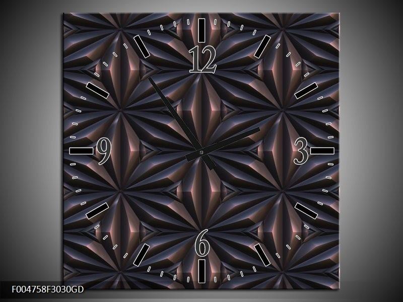 Wandklok op Glas Modern | Kleur: Bruin, Zwart | F004758CGD