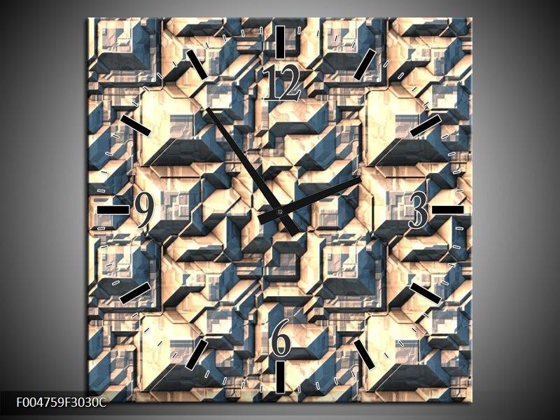 Wandklok op Canvas Modern | Kleur: Grijs, Wit | F004759C