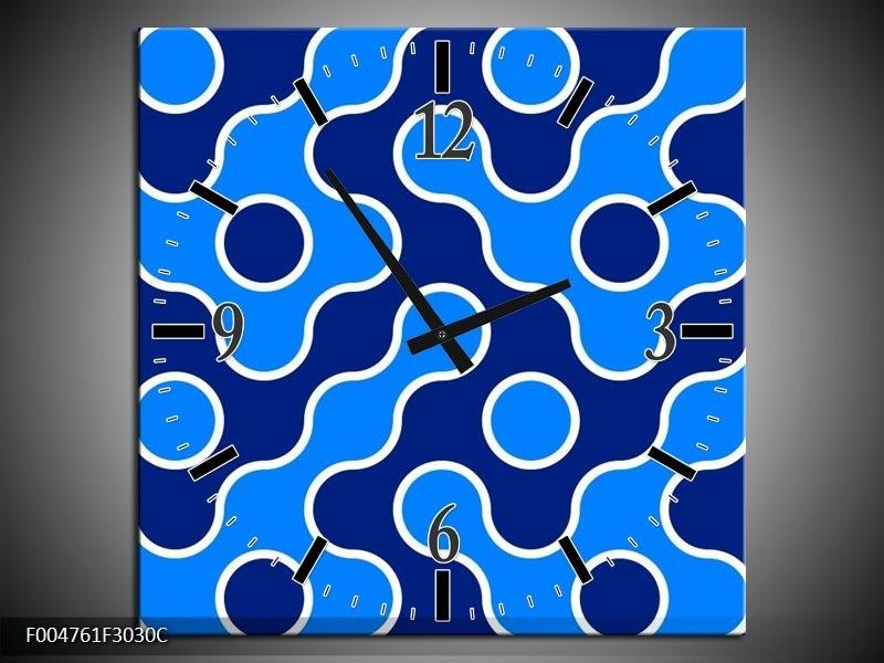 Wandklok op Canvas Modern | Kleur: Blauw | F004761C