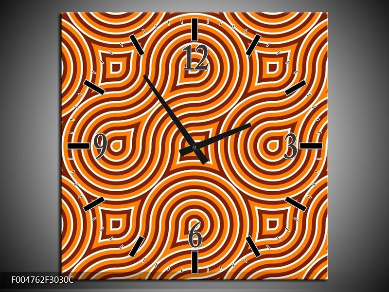 Wandklok op Canvas Modern   Kleur: Oranje, Geel, Zwart   F004762C