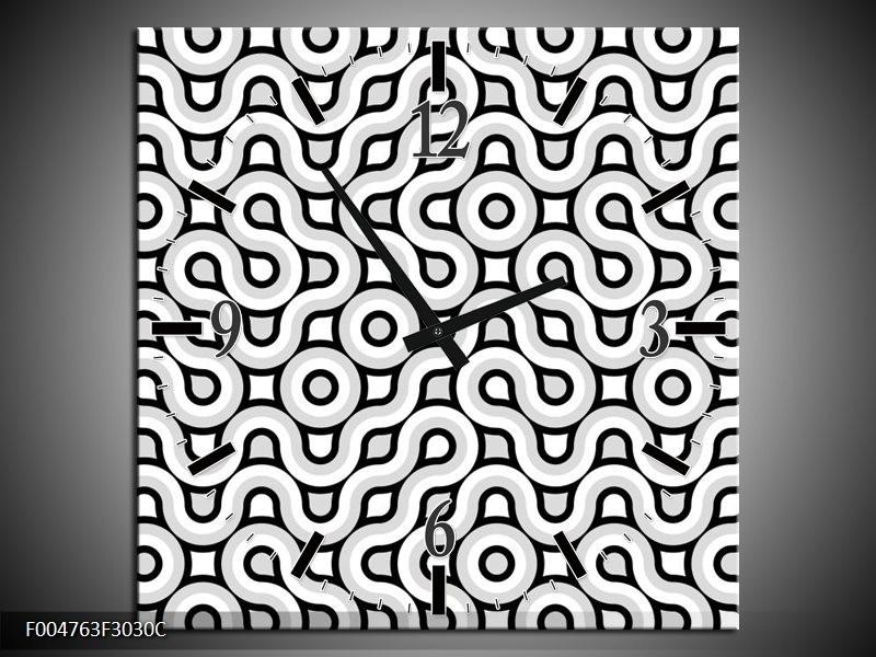 Wandklok op Canvas Modern | Kleur: Grijs, Zwart, Wit | F004763C