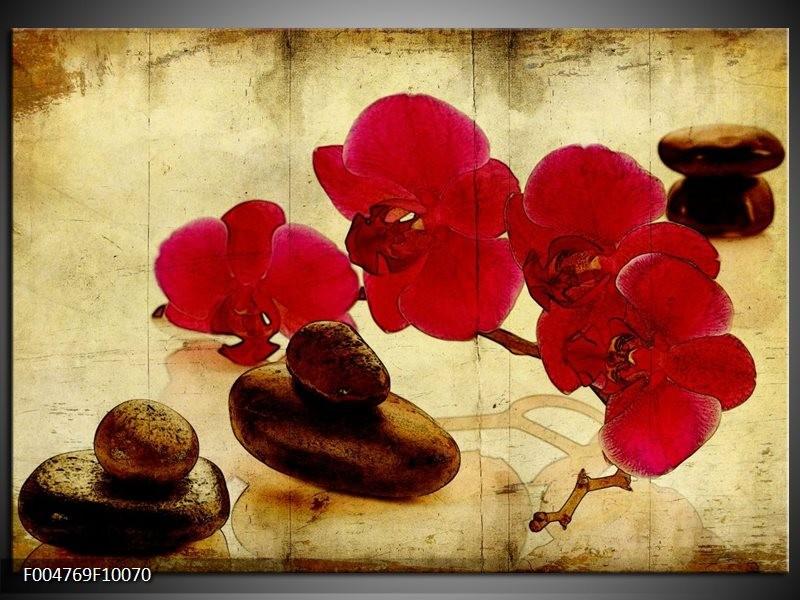 Glas schilderij Orchidee | Rood, Bruin, Geel