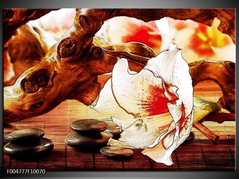 Glas schilderij Bloem   Wit, Rood, Geel