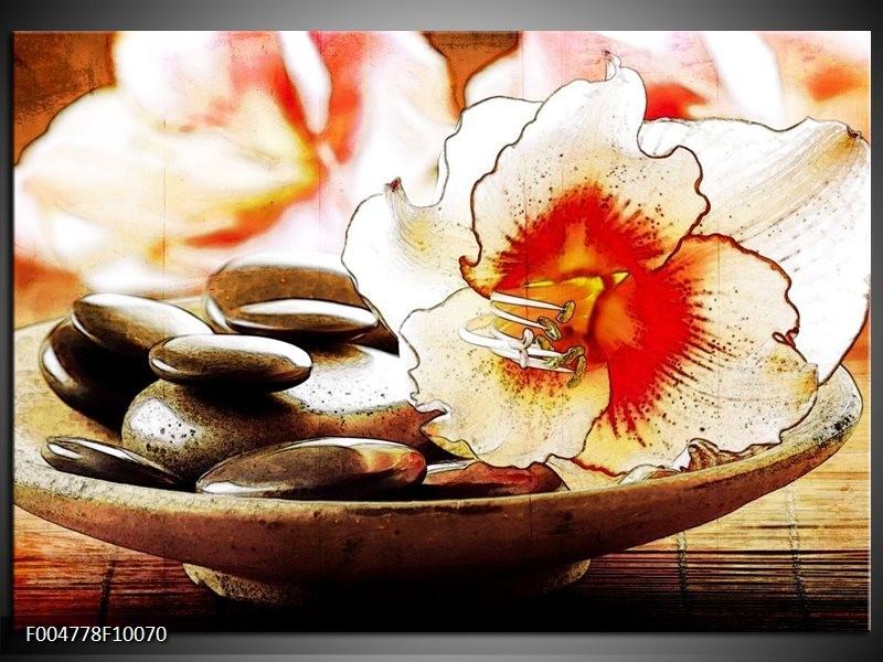 Glas schilderij Bloem | Wit, Rood, Geel