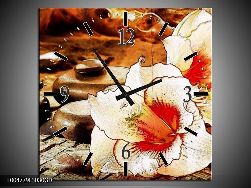 Wandklok op Glas Bloem   Kleur: Wit, Rood, Geel   F004779CGD