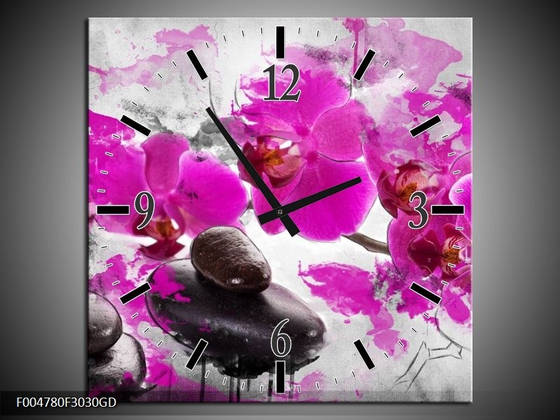 Wandklok op Glas Orchidee   Kleur: Roze, Grijs, Wit   F004780CGD