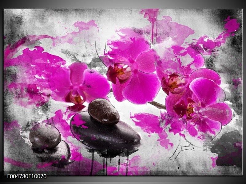 Glas schilderij Orchidee | Roze, Grijs, Wit