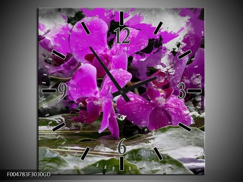 Wandklok op Glas Orchidee | Kleur: Paars, Grijs, Wit | F004783CGD