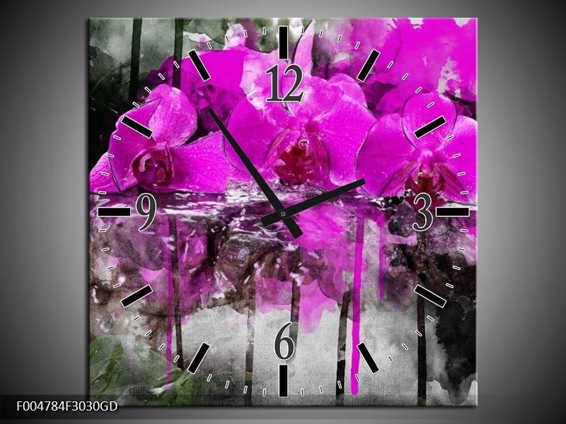 Wandklok op Glas Orchidee   Kleur: Paars, Grijs, Wit   F004784CGD