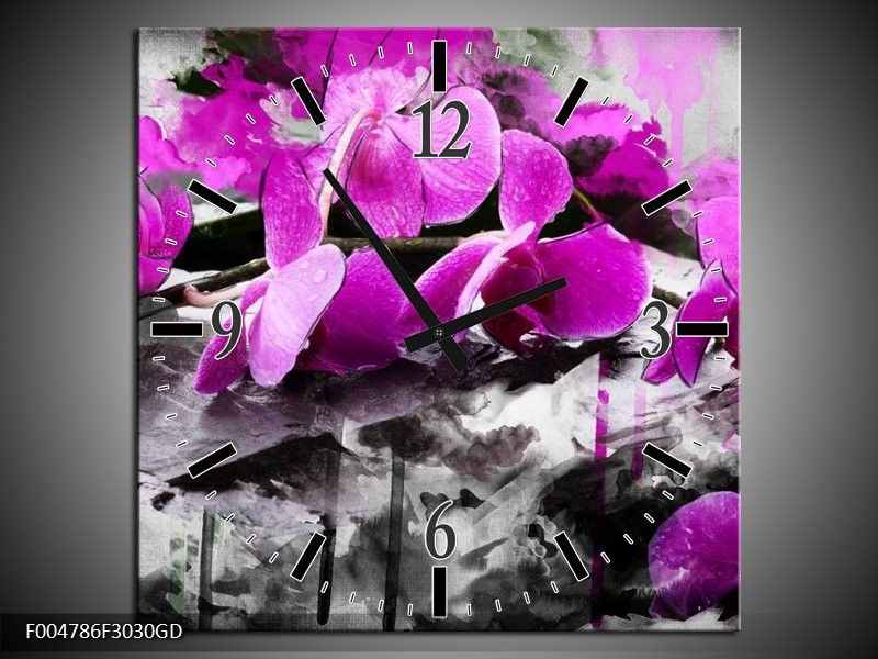 Wandklok op Glas Orchidee | Kleur: Paars, Grijs, Wit | F004786CGD