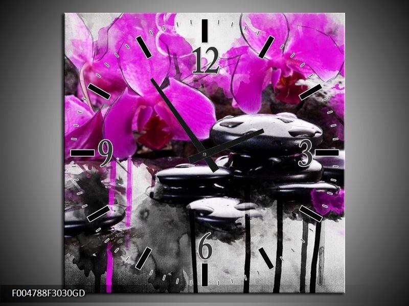 Wandklok op Glas Orchidee   Kleur: Paars, Grijs, Wit   F004788CGD
