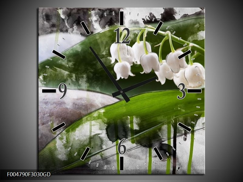 Wandklok op Glas Bloem   Kleur: Wit, Groen, Grijs   F004790CGD