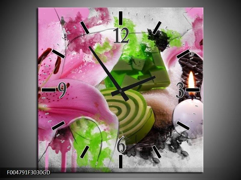 Wandklok op Glas Bloem | Kleur: Roze, Groen, Wit | F004791CGD