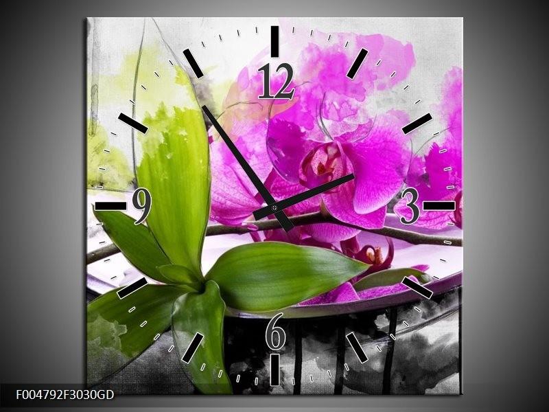 Wandklok op Glas Orchidee   Kleur: Paars, Groen, Wit   F004792CGD