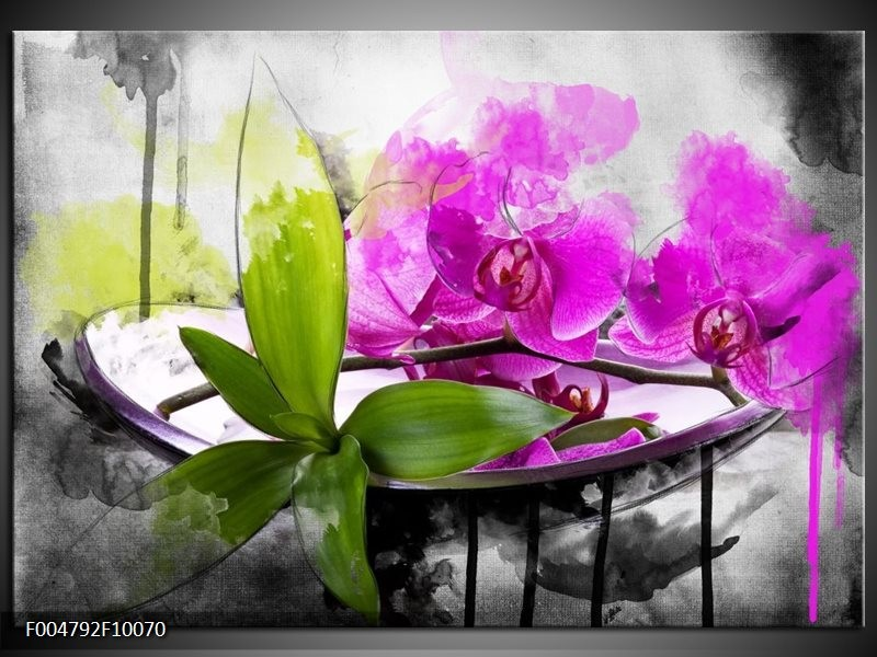 Glas schilderij Orchidee | Paars, Groen, Wit
