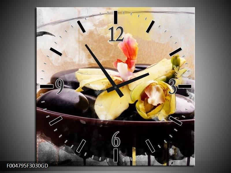 Wandklok op Glas Spa | Kleur: Geel, Wit, Bruin | F004795CGD