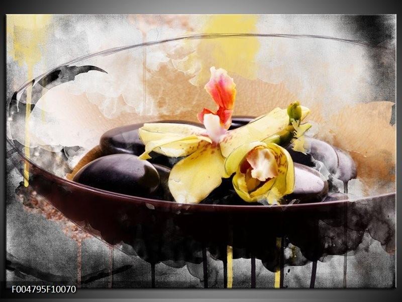 Glas schilderij Spa | Geel, Wit, Bruin
