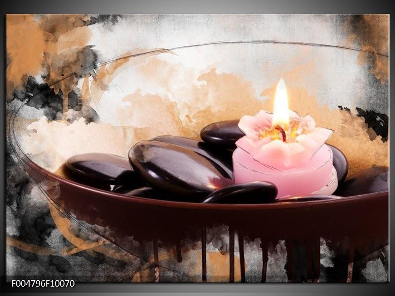 Glas schilderij Spa | Roze, Bruin, Geel