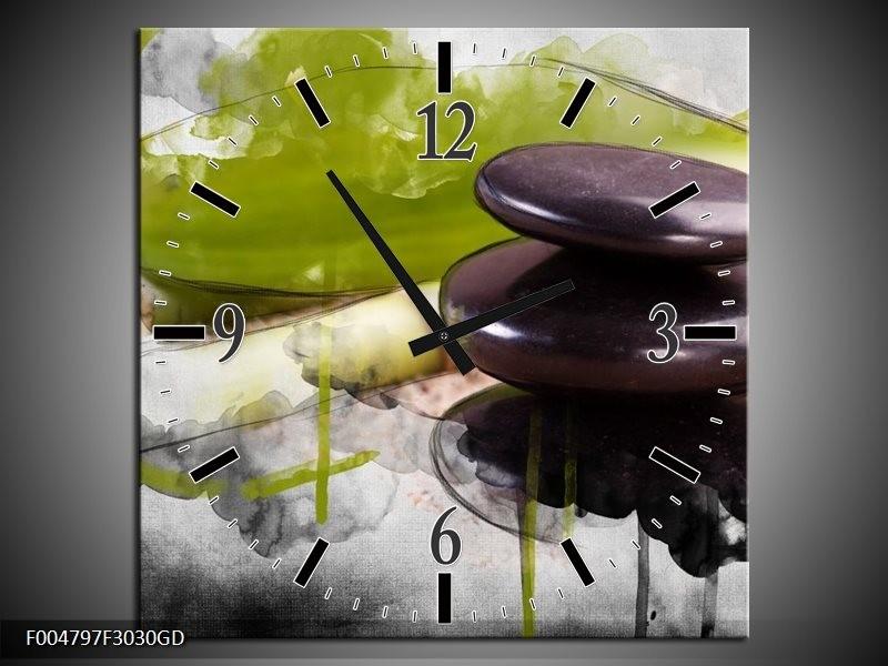 Wandklok op Glas Spa | Kleur: Groen, Zwart, Grijs | F004797CGD