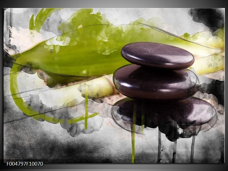 Glas schilderij Spa | Groen, Zwart, Grijs