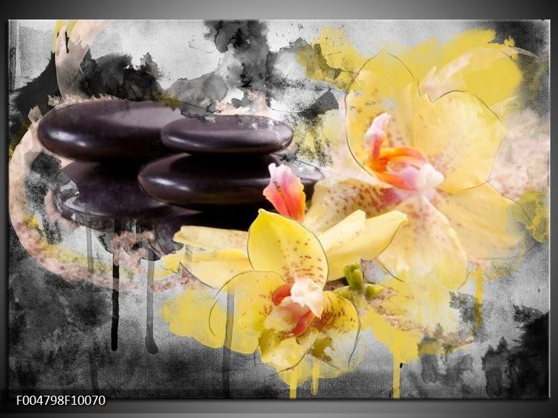 Glas schilderij Spa | Geel, Zwart, Grijs