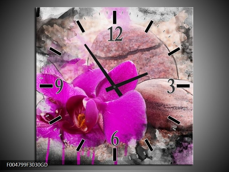 Wandklok op Glas Orchidee   Kleur: Paars, Grijs   F004799CGD