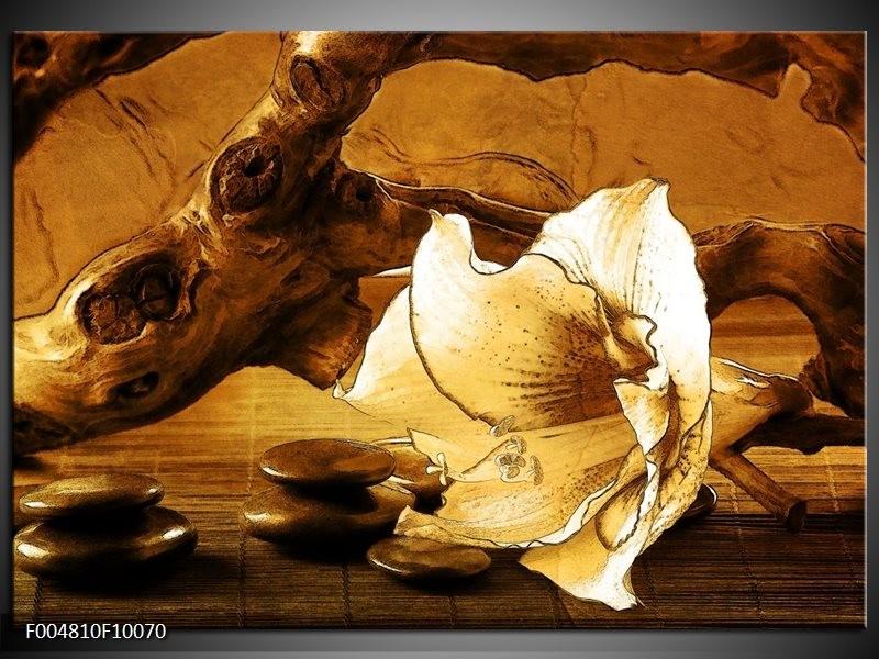 Glas schilderij Bloem | Bruin