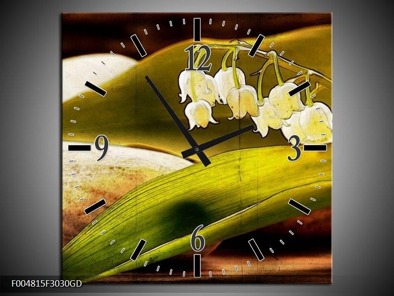 Wandklok op Glas Bloem | Kleur: Groen, Wit, Bruin | F004815CGD