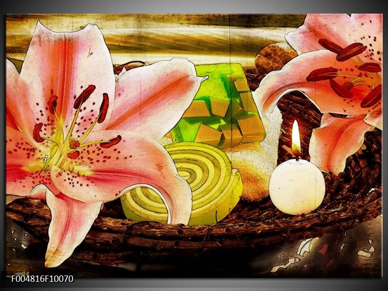Glas schilderij Bloem   Roze, Groen, Wit