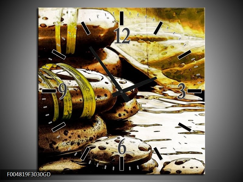 Wandklok op Glas Spa   Kleur: Geel, Bruin, Wit   F004819CGD