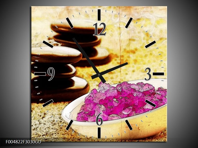Wandklok op Glas Spa | Kleur: Roze, Geel, Bruin | F004822CGD