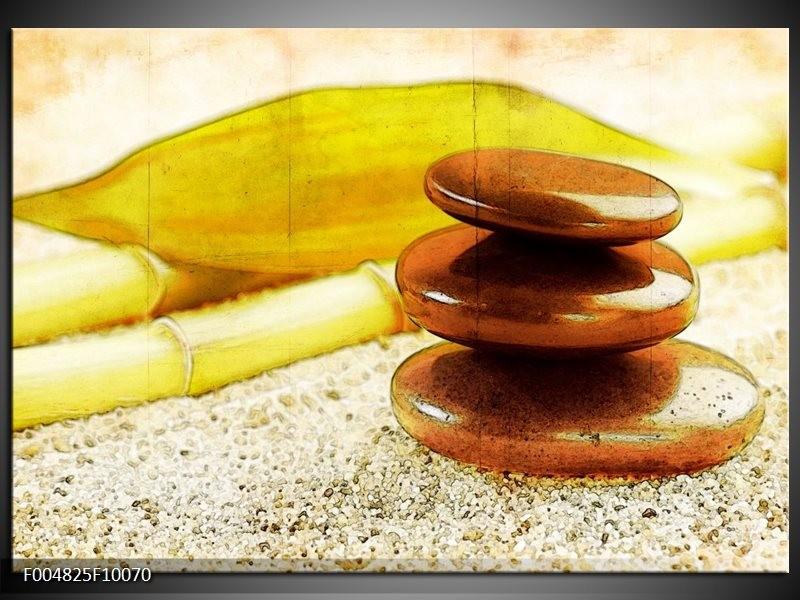 Glas schilderij Spa | Geel, Bruin, Wit